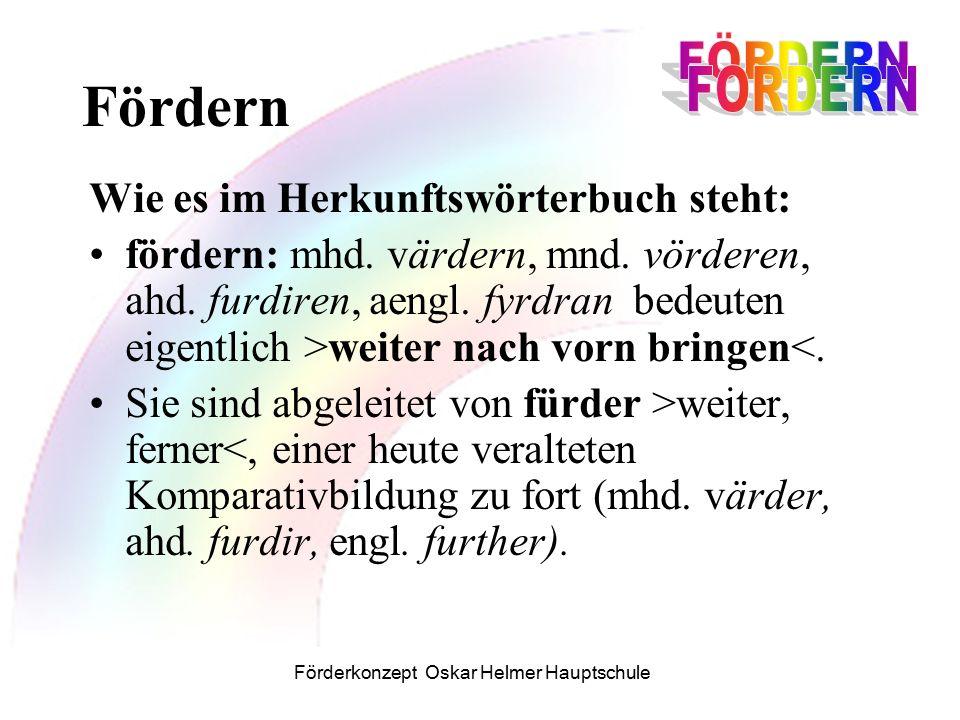 Förderkonzept Oskar Helmer Hauptschule Wie es im Herkunftswörterbuch steht: fordern: Das nur dt.
