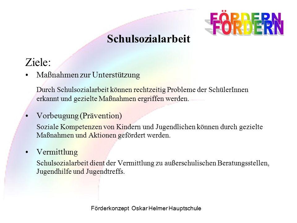Förderkonzept Oskar Helmer Hauptschule Schulsozialarbeit Ziele: Maßnahmen zur Unterstützung Durch Schulsozialarbeit können rechtzeitig Probleme der SchülerInnen erkannt und gezielte Maßnahmen ergriffen werden.