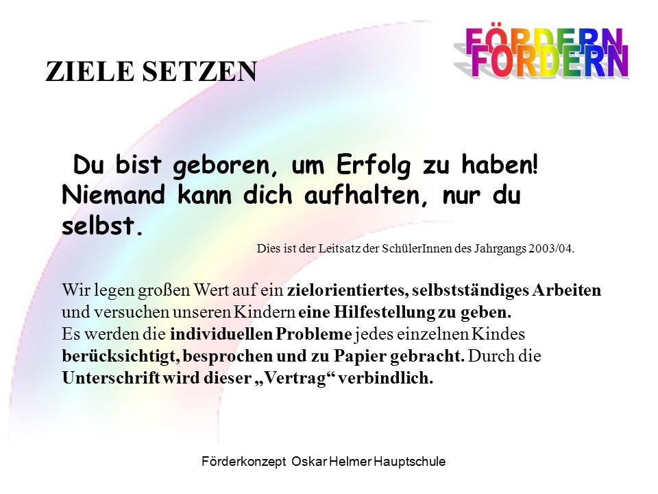 Förderkonzept Oskar Helmer Hauptschule Du bist geboren, um Erfolg zu haben.