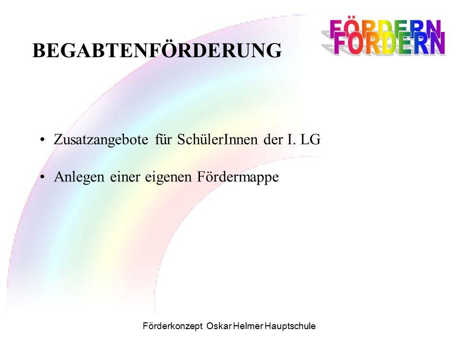 Förderkonzept Oskar Helmer Hauptschule Zusatzangebote für SchülerInnen der I.