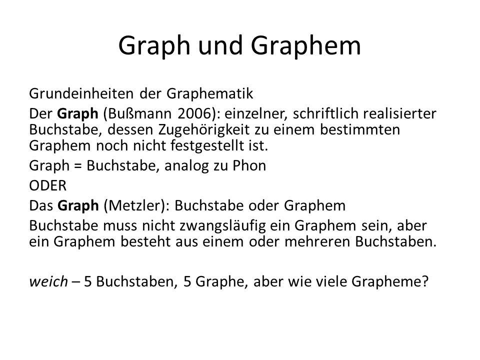 Graph und Graphem Grundeinheiten der Graphematik Der Graph (Bußmann 2006): einzelner, schriftlich realisierter Buchstabe, dessen Zugehörigkeit zu einem bestimmten Graphem noch nicht festgestellt ist.