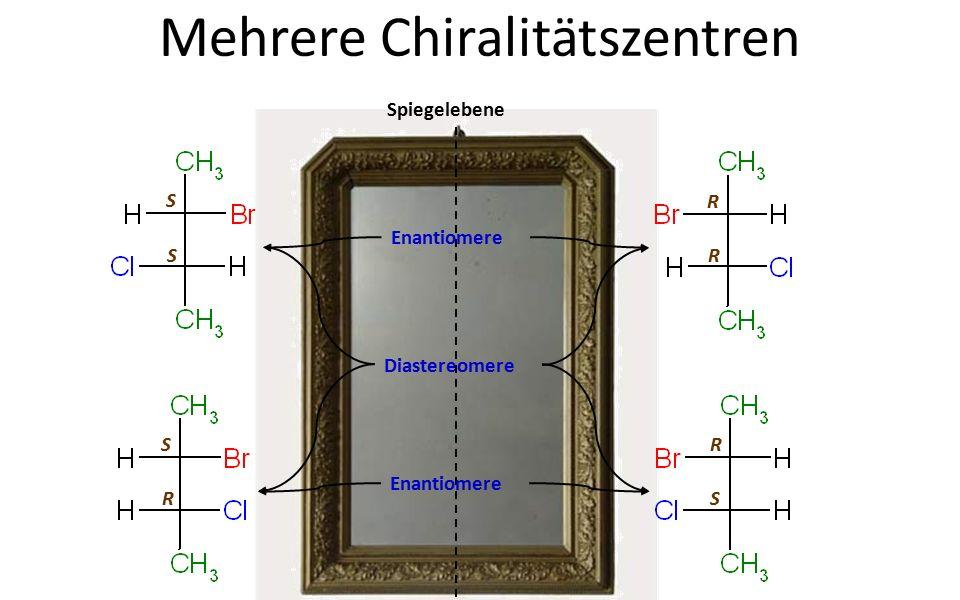 Mehrere Chiralitätszentren Spiegelebene Enantiomere Diastereomere S S S R R R R S