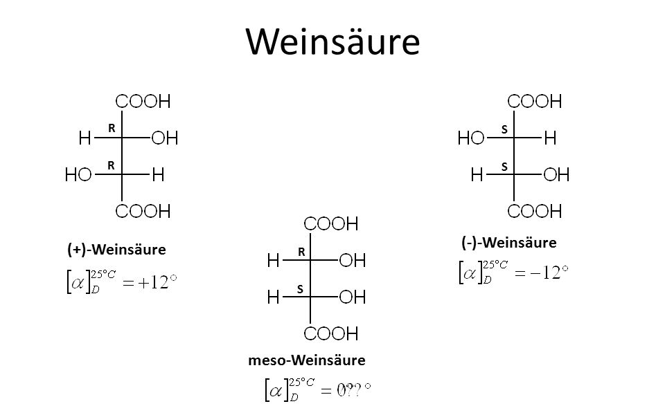 Weinsäure (+)-Weinsäure (-)-Weinsäure meso-Weinsäure R R S S R S