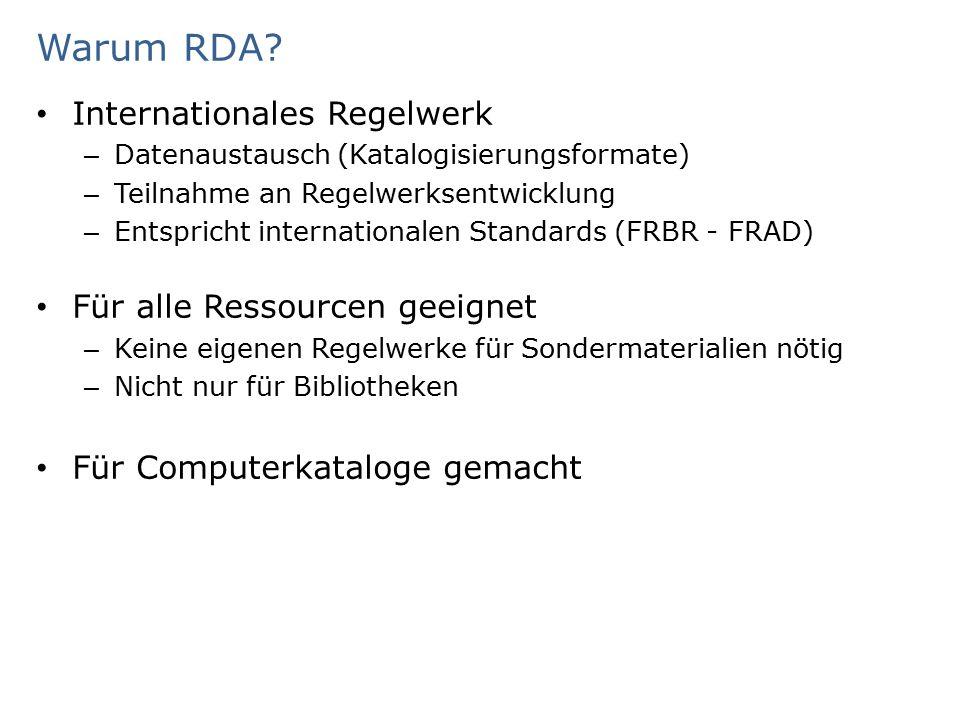 Ablauf der Schulungen Tag 1 ModulThemaReferent/in Begrüßung, EinführungBeer Modul 1, Teil 1Einführung und Grundlagen - Konzeptionelle Modelle der RDA Schindler Modul 1, Teil 2-4Einführung und Grundlagen - Entstehung und Organisation der RDA, RDA Toolkit Einführung und Grundlagen - Struktur und Aufbau der RDA Einführung und Grundlagen - Grundbegriffe für die Einführung der RDA Schindler/ Winter Pause Modul 2.01Standardelemente-SetBeer Modul 2.02Arten der BeschreibungBeer QuizRDA-BegriffeWeith