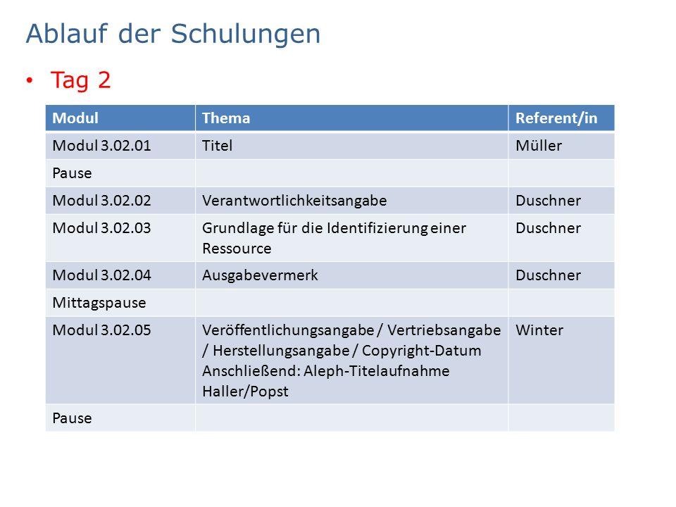 Ablauf der Schulungen Tag 2 ModulThemaReferent/in Modul 3.02.01TitelMüller Pause Modul 3.02.02VerantwortlichkeitsangabeDuschner Modul 3.02.03Grundlage für die Identifizierung einer Ressource Duschner Modul 3.02.04AusgabevermerkDuschner Mittagspause Modul 3.02.05Veröffentlichungsangabe / Vertriebsangabe / Herstellungsangabe / Copyright-Datum Anschließend: Aleph-Titelaufnahme Haller/Popst Winter Pause