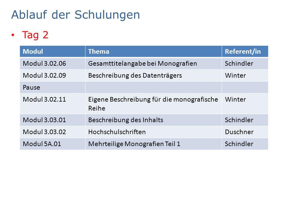 Ablauf der Schulungen Tag 2 ModulThemaReferent/in Modul 3.02.06Gesamttitelangabe bei MonografienSchindler Modul 3.02.09Beschreibung des DatenträgersWinter Pause Modul 3.02.11Eigene Beschreibung für die monografische Reihe Winter Modul 3.03.01Beschreibung des InhaltsSchindler Modul 3.03.02HochschulschriftenDuschner Modul 5A.01Mehrteilige Monografien Teil 1Schindler