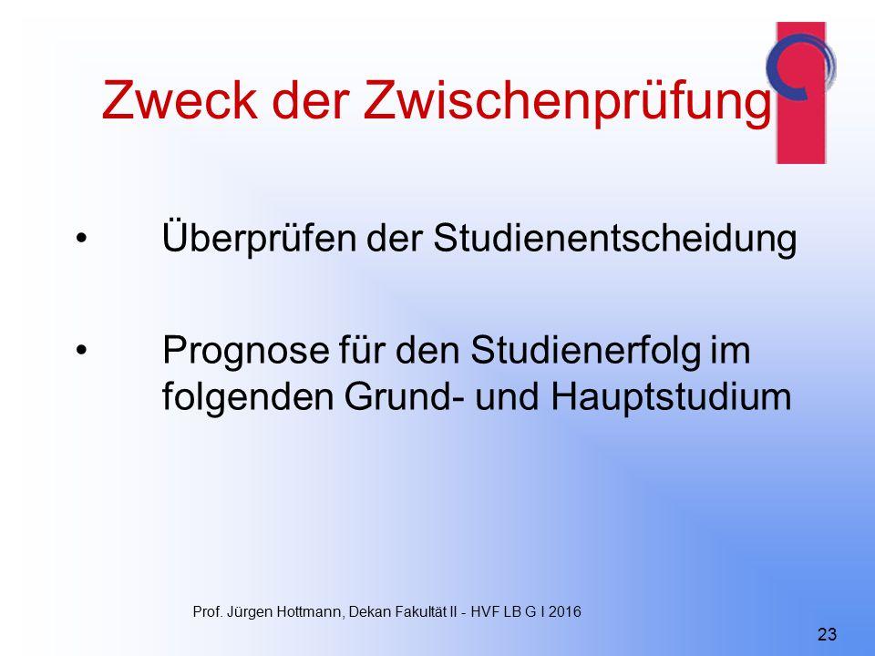 Zweck der Zwischenprüfung Überprüfen der Studienentscheidung Prognose für den Studienerfolg im folgenden Grund- und Hauptstudium Prof.