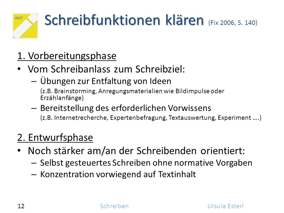 12SchreibenUrsula Esterl Schreibfunktionen klären Schreibfunktionen klären (Fix 2006, S. 140) 1. Vorbereitungsphase Vom Schreibanlass zum Schreibziel: