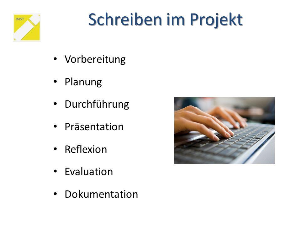 Schreiben im Projekt Vorbereitung Planung Durchführung Präsentation Reflexion Evaluation Dokumentation