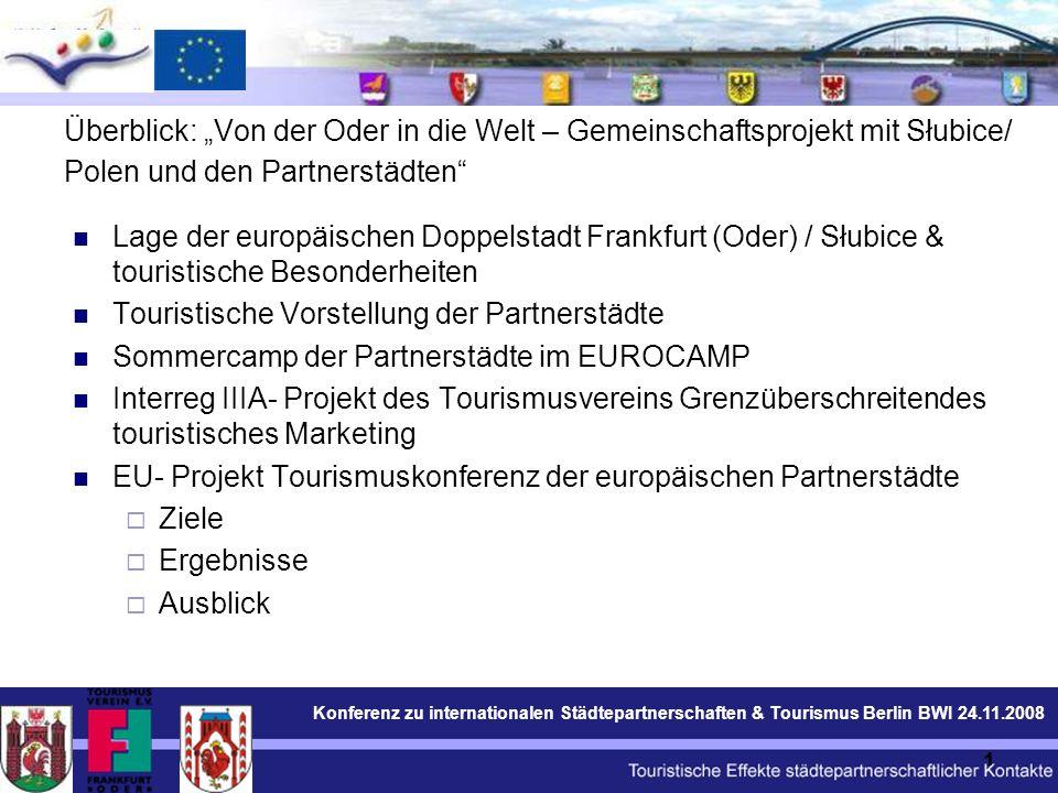 Konferenz zu internationalen Städtepartnerschaften & Tourismus Berlin BWI 24.11.2008 12 Gestaltung der touristischen Internet Präsentation der Doppelstadt Frankfurt (Oder) / Słubice