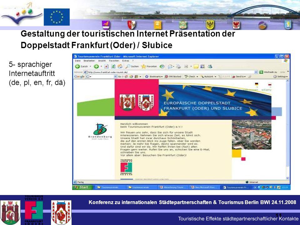 Konferenz zu internationalen Städtepartnerschaften & Tourismus Berlin BWI 24.11.2008 11 Gestaltung der touristischen Internet Präsentation der Doppelstadt Frankfurt (Oder) / Słubice 5- sprachiger Internetauftritt (de, pl, en, fr, dä)