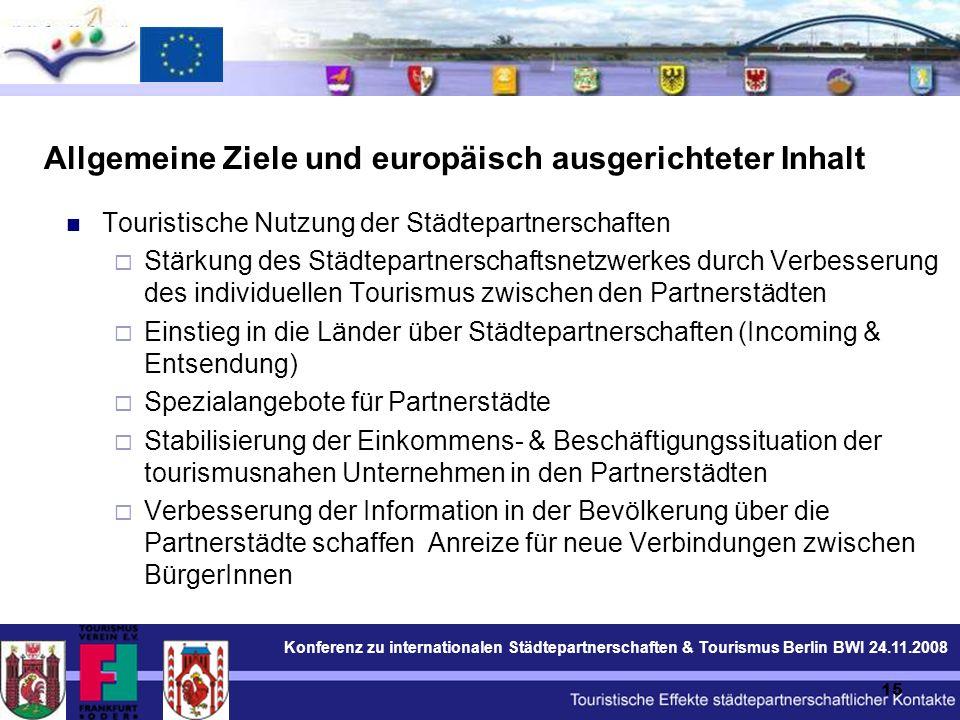Konferenz zu internationalen Städtepartnerschaften & Tourismus Berlin BWI 24.11.2008 15 Allgemeine Ziele und europäisch ausgerichteter Inhalt Touristische Nutzung der Städtepartnerschaften  Stärkung des Städtepartnerschaftsnetzwerkes durch Verbesserung des individuellen Tourismus zwischen den Partnerstädten  Einstieg in die Länder über Städtepartnerschaften (Incoming & Entsendung)  Spezialangebote für Partnerstädte  Stabilisierung der Einkommens- & Beschäftigungssituation der tourismusnahen Unternehmen in den Partnerstädten  Verbesserung der Information in der Bevölkerung über die Partnerstädte schaffen Anreize für neue Verbindungen zwischen BürgerInnen