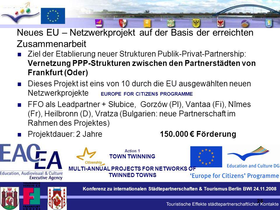 Konferenz zu internationalen Städtepartnerschaften & Tourismus Berlin BWI 24.11.2008 25 Neues EU – Netzwerkprojekt auf der Basis der erreichten Zusammenarbeit Ziel der Etablierung neuer Strukturen Publik-Privat-Partnership: Vernetzung PPP-Strukturen zwischen den Partnerstädten von Frankfurt (Oder) Dieses Projekt ist eins von 10 durch die EU ausgewählten neuen Netzwerkprojekte FFO als Leadpartner + Słubice, Gorzów (Pl), Vantaa (Fi), Nîmes (Fr), Heilbronn (D), Vratza (Bulgarien: neue Partnerschaft im Rahmen des Projektes) Projektdauer: 2 Jahre 150.000 € Förderung EUROPE FOR CITIZENS PROGRAMME Action 1 TOWN TWINNING MULTI-ANNUAL PROJECTS FOR NETWORKS OF TWINNED TOWNS