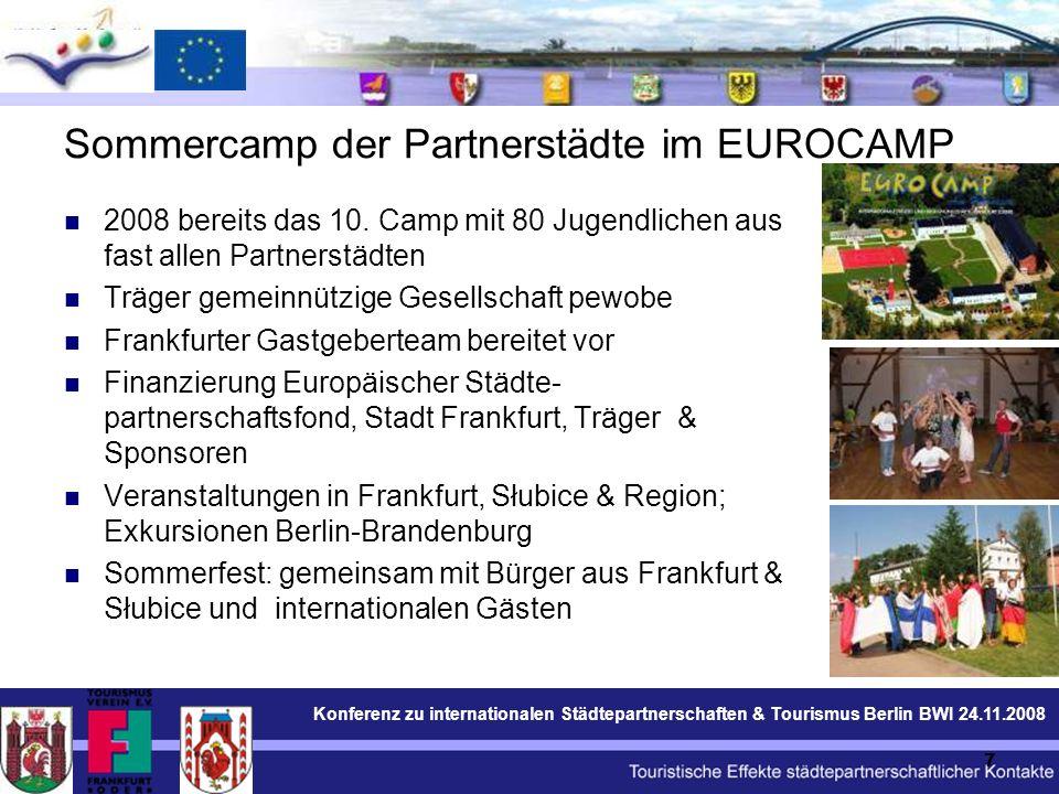 Konferenz zu internationalen Städtepartnerschaften & Tourismus Berlin BWI 24.11.2008 7 Sommercamp der Partnerstädte im EUROCAMP 2008 bereits das 10.