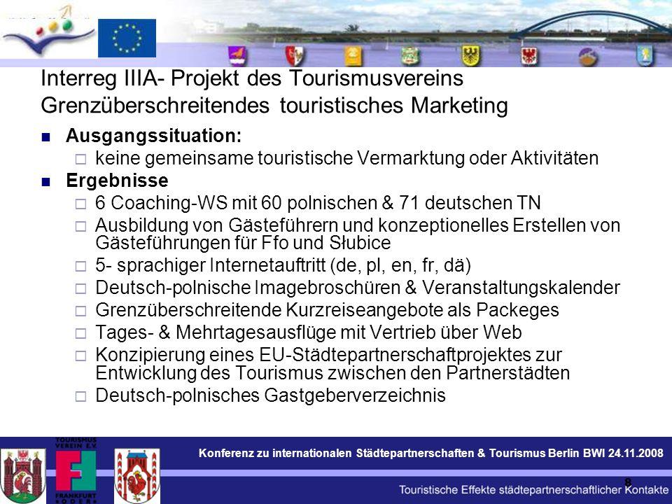 Konferenz zu internationalen Städtepartnerschaften & Tourismus Berlin BWI 24.11.2008 19 Kulturtourismuskonferenz: Teilnehmer (90): Tourismusexperten, Reiseveranstalter, Vertreter der Partnerstädte und der deutsch- polnischen Grenzregion; Partnerschaftsaktivisten