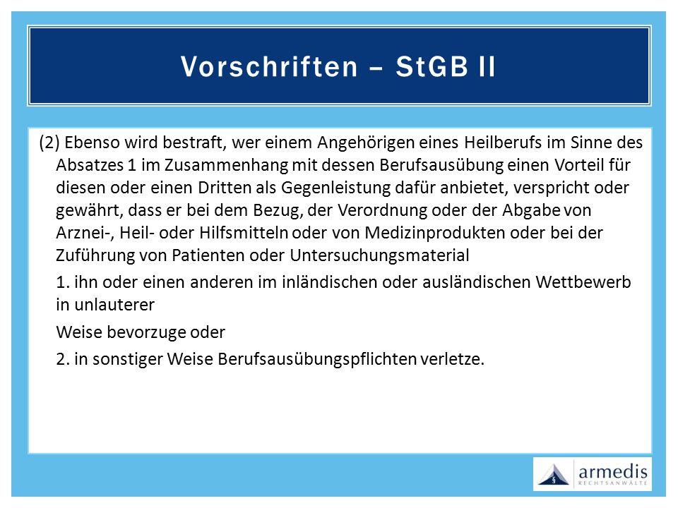 Vorschriften – StGB II