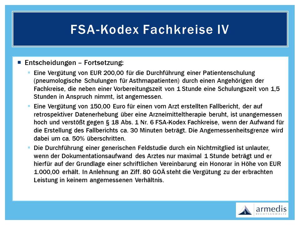 FSA-Kodex Fachkreise IV