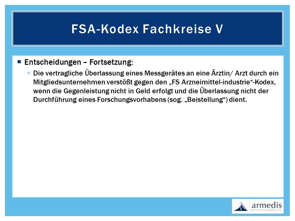 FSA-Kodex Fachkreise V