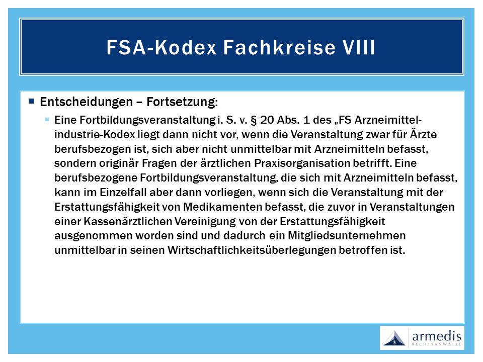 FSA-Kodex Fachkreise VIII
