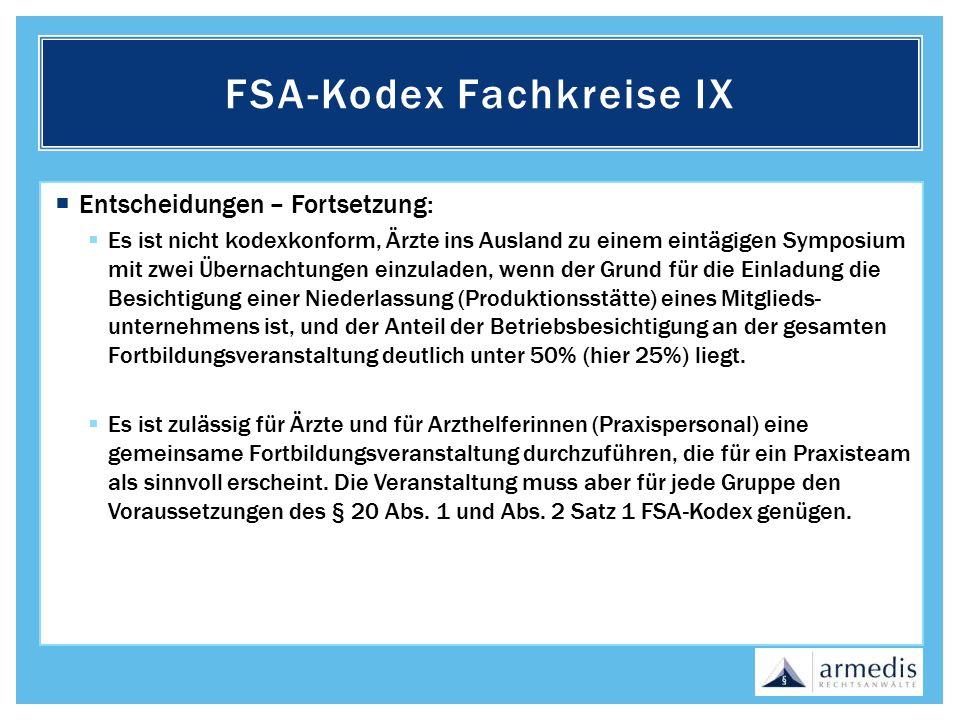 FSA-Kodex Fachkreise IX