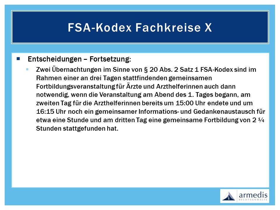 FSA-Kodex Fachkreise X
