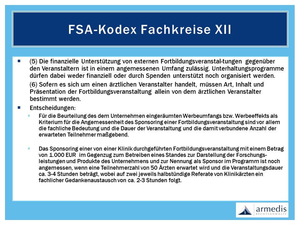 FSA-Kodex Fachkreise XII