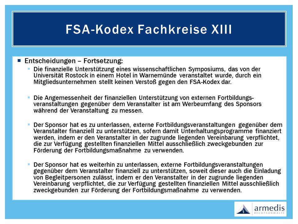 FSA-Kodex Fachkreise XIII