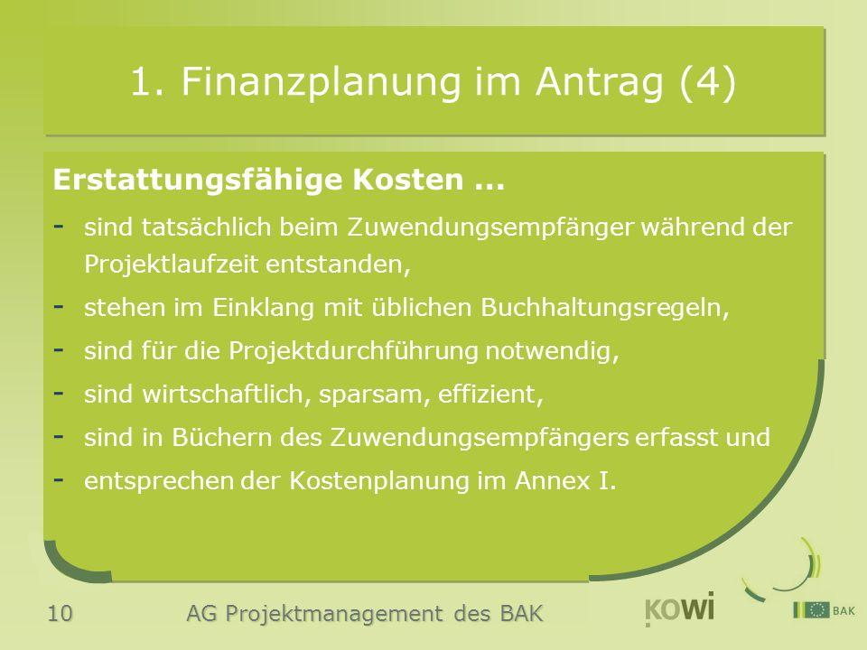 10 AG Projektmanagement des BAK 1. Finanzplanung im Antrag (4) Erstattungsfähige Kosten... - sind tatsächlich beim Zuwendungsempfänger während der Pro