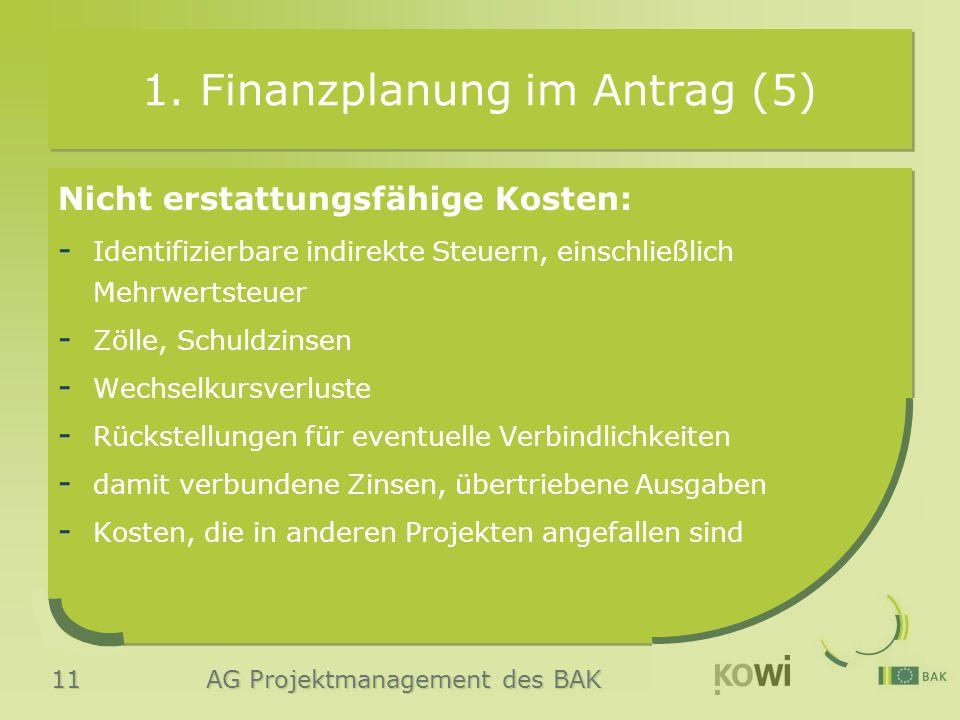 11 AG Projektmanagement des BAK 1. Finanzplanung im Antrag (5) Nicht erstattungsfähige Kosten: - Identifizierbare indirekte Steuern, einschließlich Me