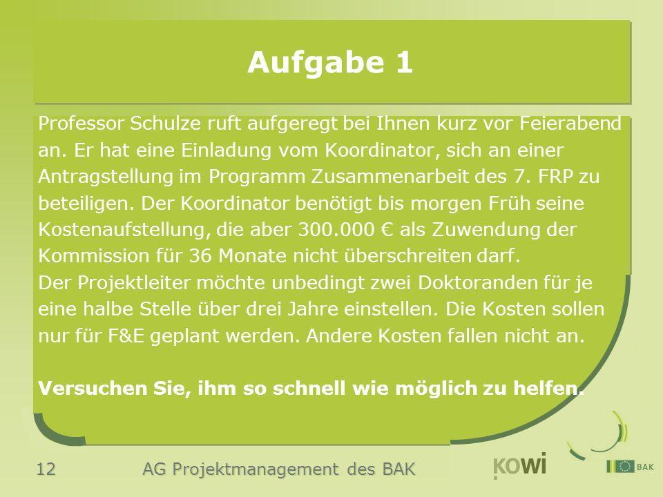 12 AG Projektmanagement des BAK Aufgabe 1 Professor Schulze ruft aufgeregt bei Ihnen kurz vor Feierabend an. Er hat eine Einladung vom Koordinator, si