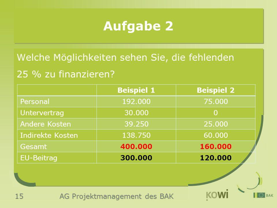 15 AG Projektmanagement des BAK Aufgabe 2 Welche Möglichkeiten sehen Sie, die fehlenden 25 % zu finanzieren? Beispiel 1Beispiel 2 Personal192.00075.00