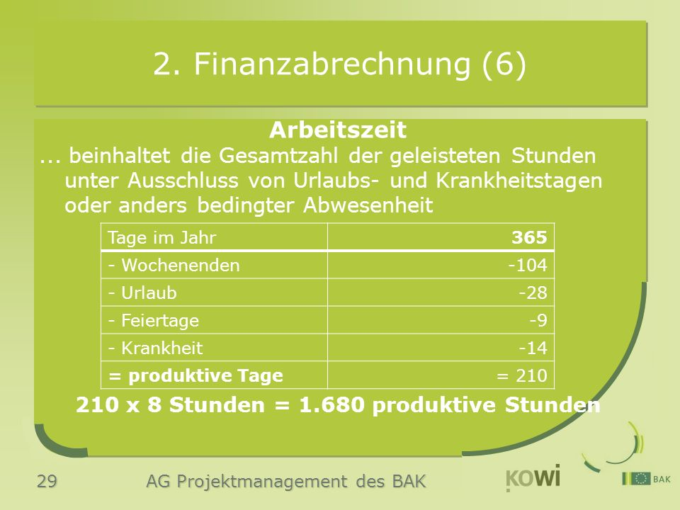 29 AG Projektmanagement des BAK 2. Finanzabrechnung (6) Arbeitszeit... beinhaltet die Gesamtzahl der geleisteten Stunden unter Ausschluss von Urlaubs-