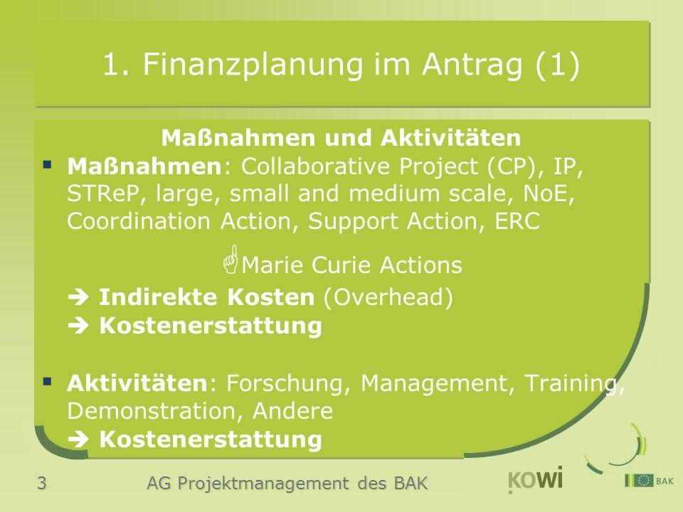 3 AG Projektmanagement des BAK 1.