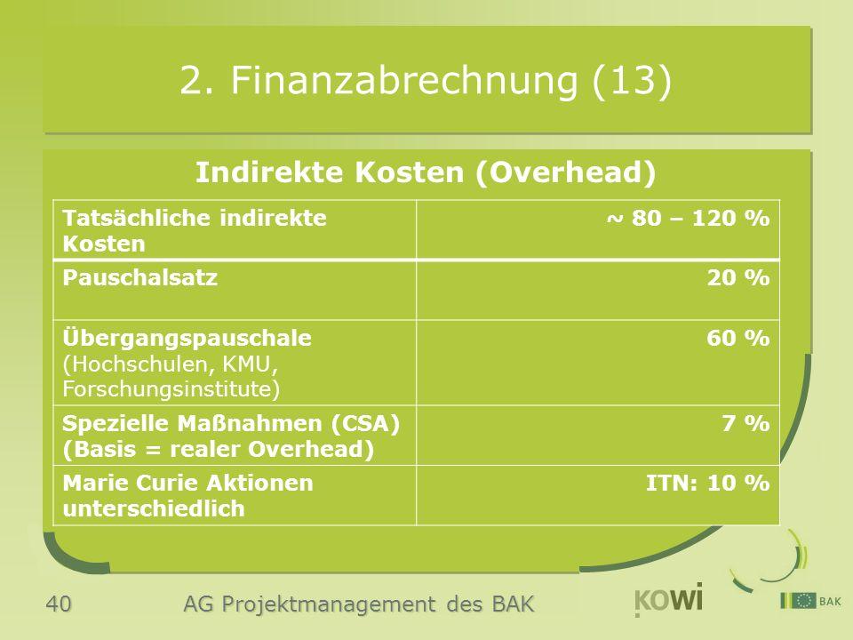 40 AG Projektmanagement des BAK 2. Finanzabrechnung (13) Indirekte Kosten (Overhead) Tatsächliche indirekte Kosten ~ 80 – 120 % Pauschalsatz20 % Überg