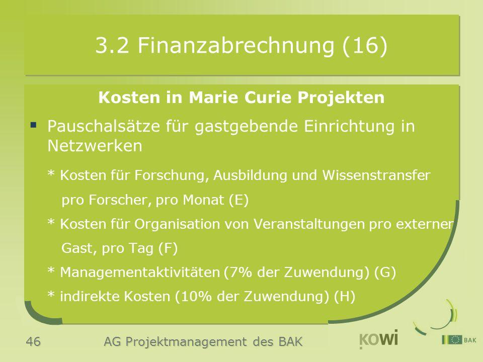 46 AG Projektmanagement des BAK 3.2 Finanzabrechnung (16) Kosten in Marie Curie Projekten  Pauschalsätze für gastgebende Einrichtung in Netzwerken * Kosten für Forschung, Ausbildung und Wissenstransfer pro Forscher, pro Monat (E) * Kosten für Organisation von Veranstaltungen pro externer Gast, pro Tag (F) * Managementaktivitäten (7% der Zuwendung) (G) * indirekte Kosten (10% der Zuwendung) (H)