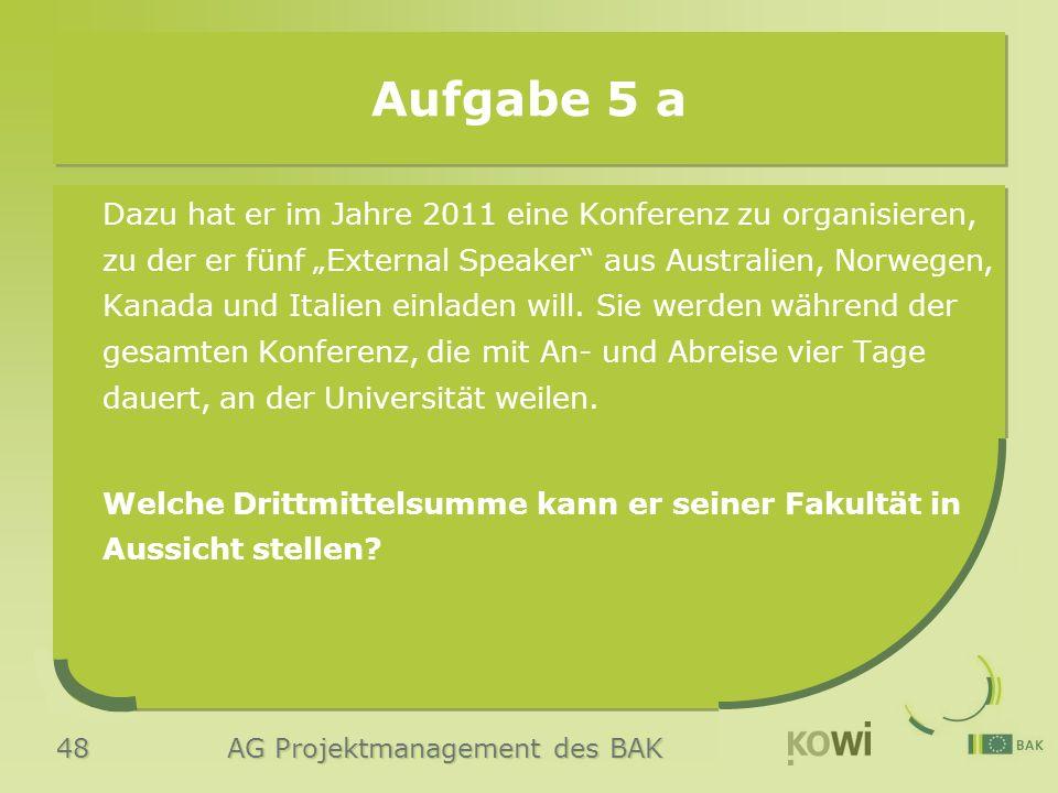 """48 AG Projektmanagement des BAK Aufgabe 5 a Dazu hat er im Jahre 2011 eine Konferenz zu organisieren, zu der er fünf """"External Speaker aus Australien, Norwegen, Kanada und Italien einladen will."""