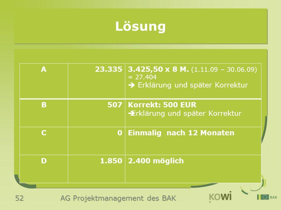 52 AG Projektmanagement des BAK Lösung A23.3353.425,50 x 8 M. (1.11.09 – 30.06.09) = 27.404  Erklärung und später Korrektur B507Korrekt: 500 EUR  Er