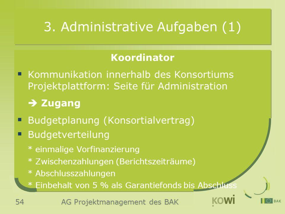 54 AG Projektmanagement des BAK 3. Administrative Aufgaben (1) Koordinator  Kommunikation innerhalb des Konsortiums Projektplattform: Seite für Admin