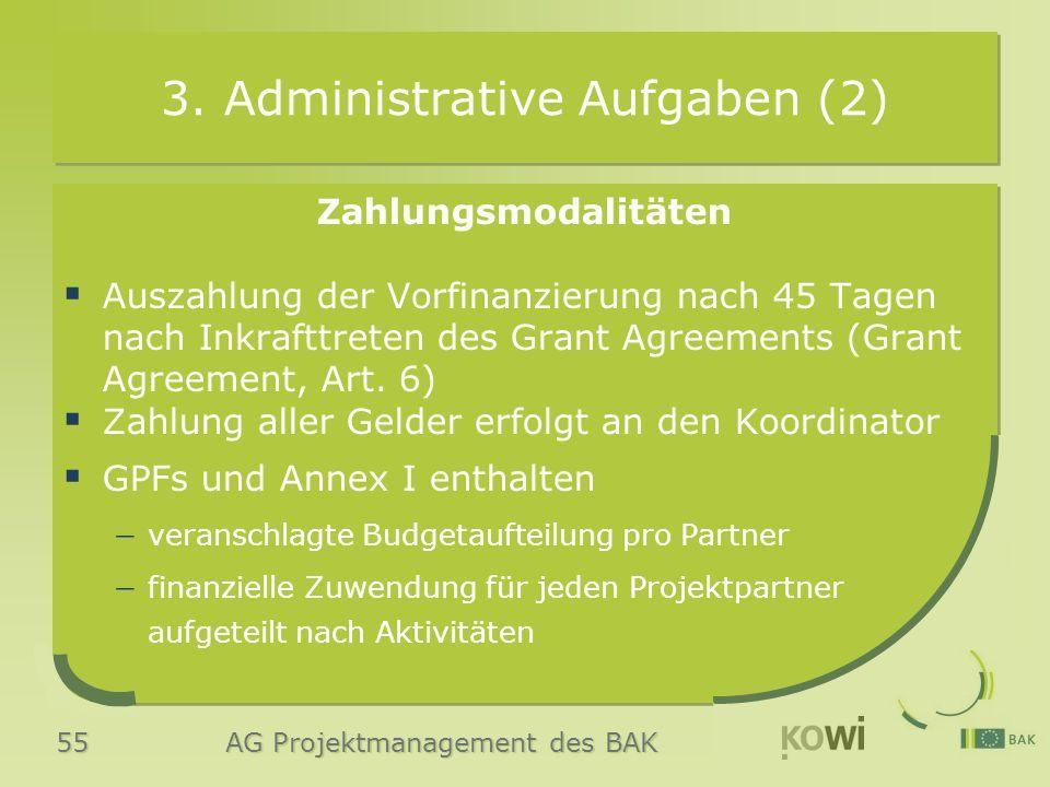 55 AG Projektmanagement des BAK 3. Administrative Aufgaben (2) Zahlungsmodalitäten  Auszahlung der Vorfinanzierung nach 45 Tagen nach Inkrafttreten d