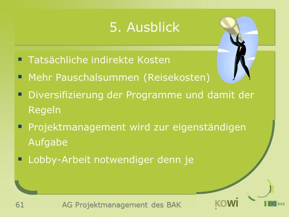 61 AG Projektmanagement des BAK 5. Ausblick  Tatsächliche indirekte Kosten  Mehr Pauschalsummen (Reisekosten)  Diversifizierung der Programme und d