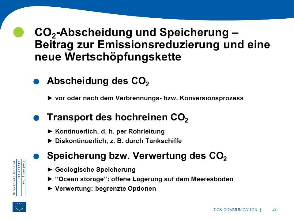 | 32 CCS COMMUNICATION CO 2 -Abscheidung und Speicherung – Beitrag zur Emissionsreduzierung und eine neue Wertschöpfungskette.