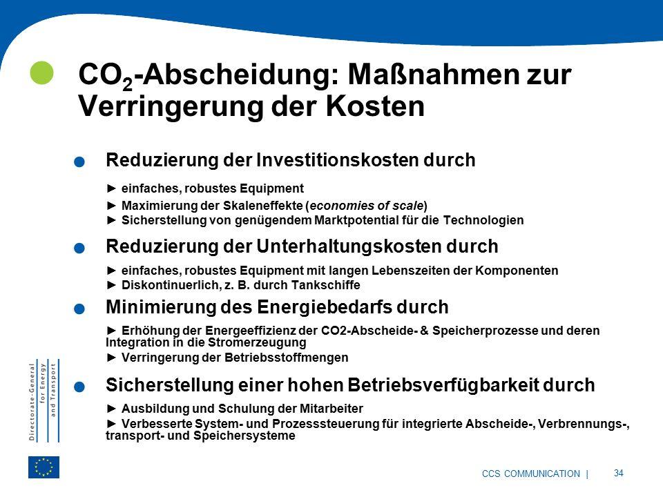| 34 CCS COMMUNICATION CO 2 -Abscheidung: Maßnahmen zur Verringerung der Kosten.