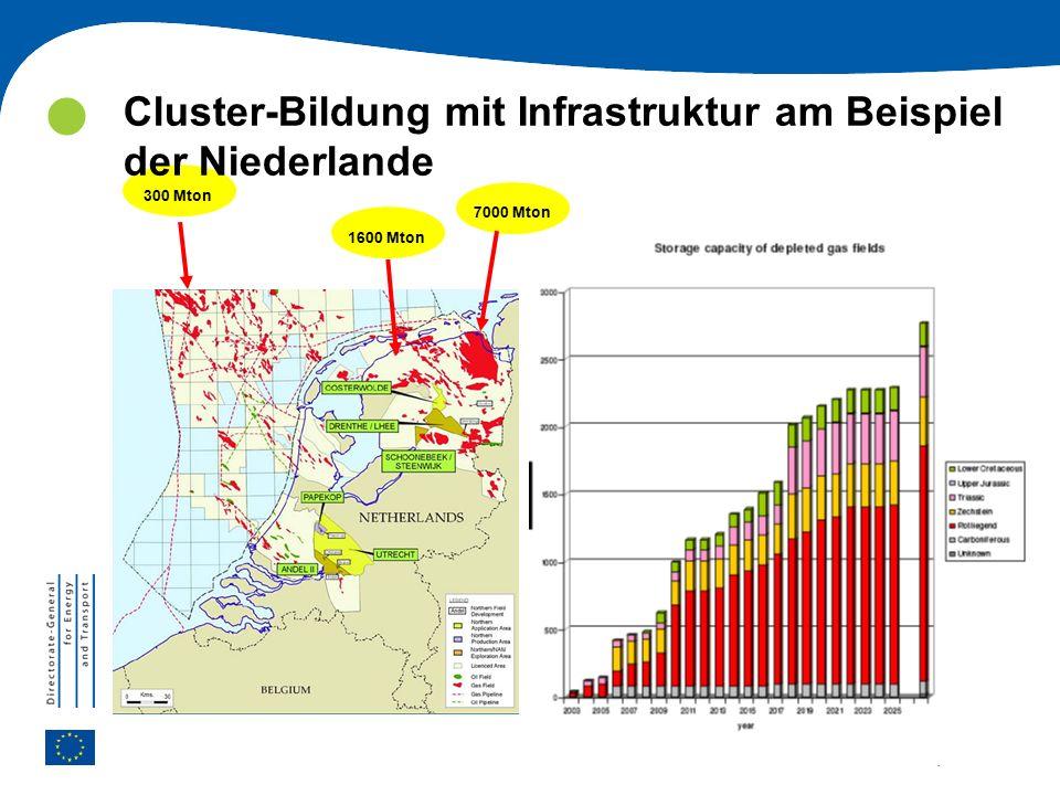 | 41 CCS COMMUNICATION 300 Mton 1600 Mton 7000 Mton Cluster-Bildung mit Infrastruktur am Beispiel der Niederlande