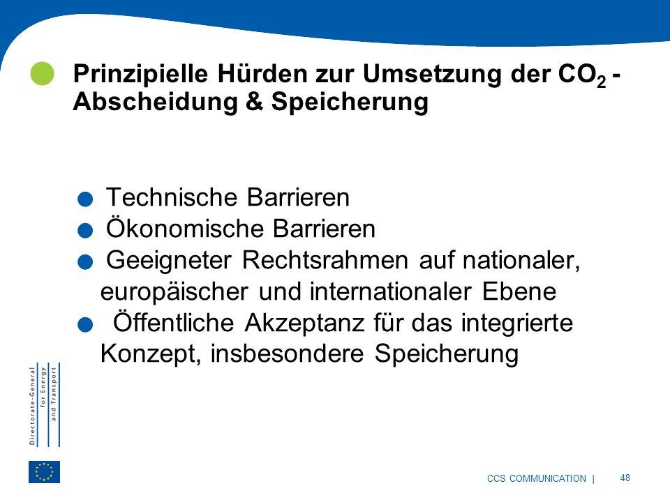 | 48 CCS COMMUNICATION Prinzipielle Hürden zur Umsetzung der CO 2 - Abscheidung & Speicherung.