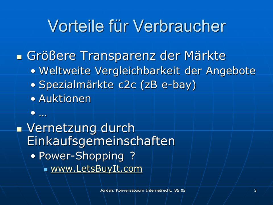 Jordan: Konversatoium Internetrecht, SS 05 3 Vorteile für Verbraucher Größere Transparenz der Märkte Größere Transparenz der Märkte Weltweite Vergleichbarkeit der AngeboteWeltweite Vergleichbarkeit der Angebote Spezialmärkte c2c (zB e-bay)Spezialmärkte c2c (zB e-bay) AuktionenAuktionen … Vernetzung durch Einkaufsgemeinschaften Vernetzung durch Einkaufsgemeinschaften Power-Shopping ?Power-Shopping .