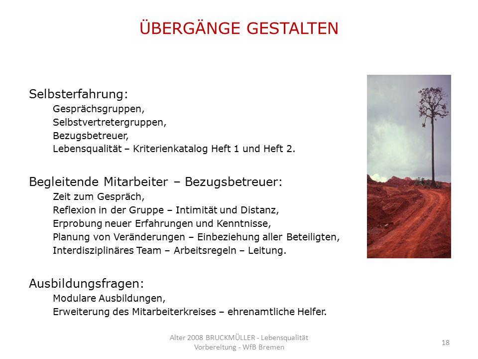 ÜBERGÄNGE GESTALTEN Selbsterfahrung: Gesprächsgruppen, Selbstvertretergruppen, Bezugsbetreuer, Lebensqualität – Kriterienkatalog Heft 1 und Heft 2.