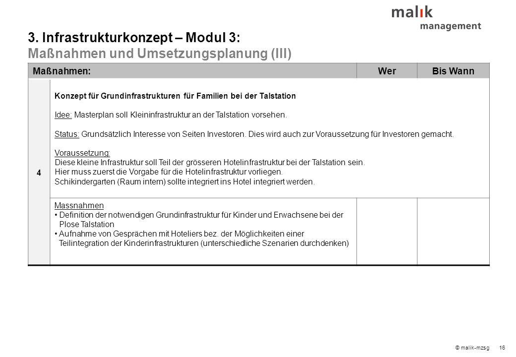 16© malik-mzsg Maßnahmen:WerBis Wann 4 Konzept für Grundinfrastrukturen für Familien bei der Talstation Idee: Masterplan soll Kleininfrastruktur an der Talstation vorsehen.