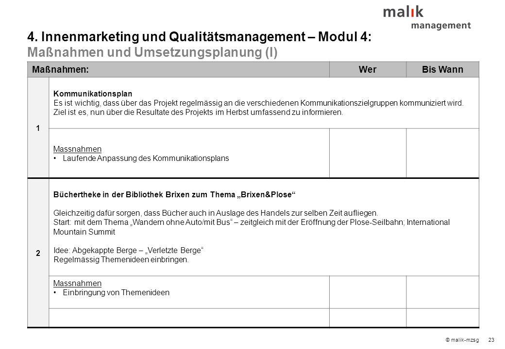 23© malik-mzsg Maßnahmen:WerBis Wann 1 Kommunikationsplan Es ist wichtig, dass über das Projekt regelmässig an die verschiedenen Kommunikationszielgruppen kommuniziert wird.