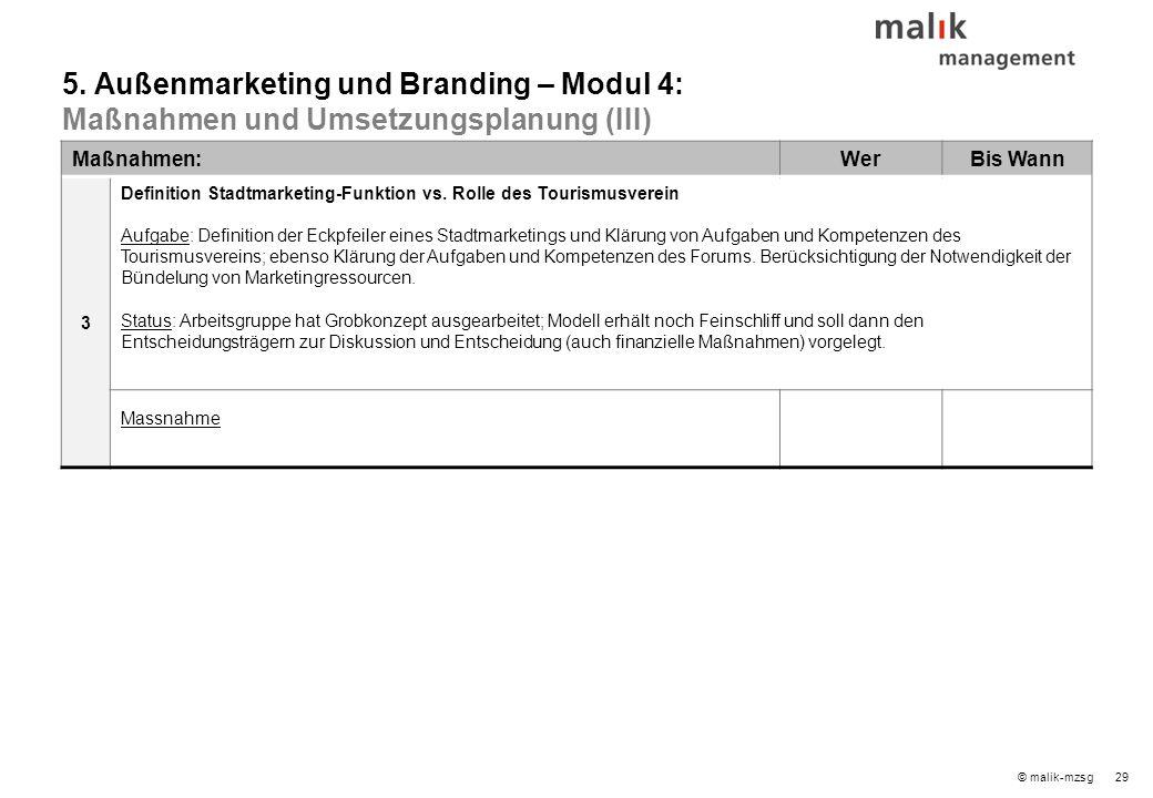 29© malik-mzsg Maßnahmen:WerBis Wann 3 Definition Stadtmarketing-Funktion vs.
