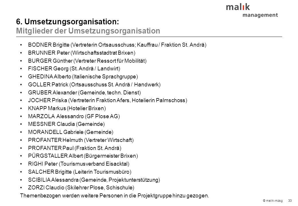 33© malik-mzsg 6. Umsetzungsorganisation: Mitglieder der Umsetzungsorganisation BODNER Brigitte (Vertreterin Ortsausschuss; Kauffrau / Fraktion St. An